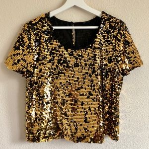 Topshop Gold and Black Sequin Top